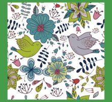 Sweet birds with flowers, a cute line drawing with pretty pattern in turquoise blue and lime green on a white background, classic statement fashion clothing, soft furnishings and home decor  Kids Tee