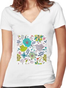 Sweet birds with flowers, a cute line drawing with pretty pattern in turquoise blue and lime green on a white background, classic statement fashion clothing, soft furnishings and home decor  Women's Fitted V-Neck T-Shirt