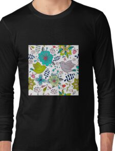 Sweet birds with flowers, a cute line drawing with pretty pattern in turquoise blue and lime green on a white background, classic statement fashion clothing, soft furnishings and home decor  Long Sleeve T-Shirt