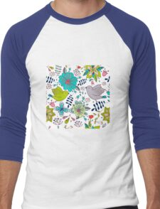 Sweet birds with flowers, a cute line drawing with pretty pattern in turquoise blue and lime green on a white background, classic statement fashion clothing, soft furnishings and home decor  Men's Baseball ¾ T-Shirt