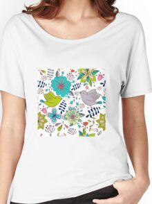 Sweet birds with flowers, a cute line drawing with pretty pattern in turquoise blue and lime green on a white background, classic statement fashion clothing, soft furnishings and home decor  Women's Relaxed Fit T-Shirt