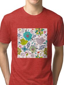 Sweet birds with flowers, a cute line drawing with pretty pattern in turquoise blue and lime green on a white background, classic statement fashion clothing, soft furnishings and home decor  Tri-blend T-Shirt