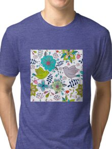Birds with flowers, a cute line drawing with pretty pattern in turquoise blue and lime green on a white background, classic statement fashion clothing, soft furnishings and home decor  Tri-blend T-Shirt