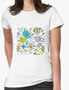 Sweet birds with flowers, a cute line drawing with pretty pattern in turquoise blue and lime green on a white background, classic statement fashion clothing, soft furnishings and home decor  Womens Fitted T-Shirt