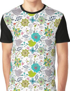 Sweet birds with flowers, a cute line drawing with pretty pattern in turquoise blue and lime green on a white background, classic statement fashion clothing, soft furnishings and home decor  Graphic T-Shirt