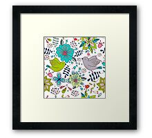 Sweet birds with flowers, a cute line drawing with pretty pattern in turquoise blue and lime green on a white background, classic statement fashion clothing, soft furnishings and home decor  Framed Print