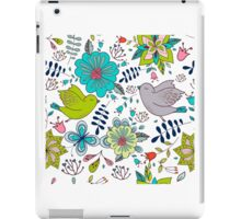 Birds with flowers, a cute line drawing with pretty pattern in turquoise blue and lime green on a white background, classic statement fashion clothing, soft furnishings and home decor  iPad Case/Skin