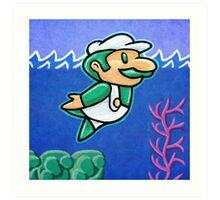 Luigi Swimmin' Art Print