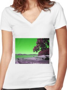 Manafiafy in Green Women's Fitted V-Neck T-Shirt