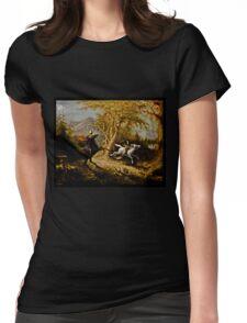 Headless Horseman Chasing Ichabod Crane Womens Fitted T-Shirt