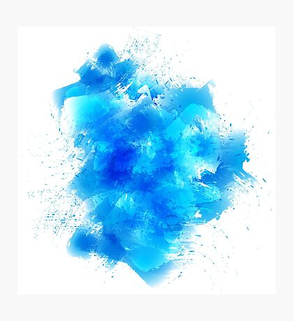 Abstract blue watercolor background Photographic Print