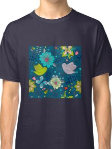 Flowers and birds in flight, a modern cute and busy repeating line drawing pattern on a fun dark grey background, classic statement fashion clothing, soft furnishings and home decor  Classic T-Shirt