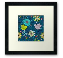 Flowers and birds in flight, a modern cute and busy repeating line drawing pattern on a fun dark grey background, classic statement fashion clothing, soft furnishings and home decor  Framed Print