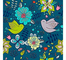 Flowers and birds in flight, a modern cute and busy repeating line drawing pattern on a fun dark grey background, classic statement fashion clothing, soft furnishings and home decor  Photographic Print