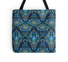 Bright colorful geometric floral blue tradition pattern Tote Bag