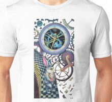 White rabbit trapped in time machine Unisex T-Shirt