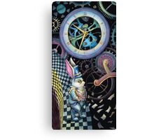 White rabbit trapped in time machine Canvas Print
