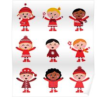 Little christmas cartoon children set - Original Winter Designers Edition Poster