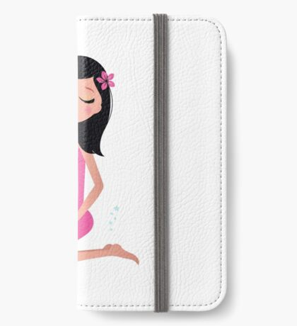 Cute spa woman, vector illustration in retro style iPhone Wallet/Case/Skin