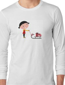 Retro christms Girl with sledge and christmas gifts Long Sleeve T-Shirt