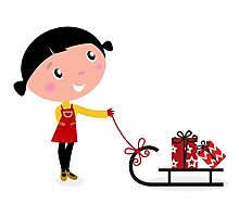 Retro christms Girl with sledge and christmas gifts Photographic Print