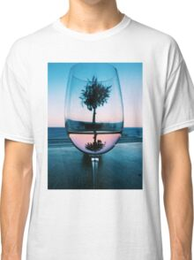 Wine Glass at Sunset Classic T-Shirt