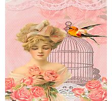 Beautiful,soft,pink,roses,bird,bird cage,beautiful young blond lady Photographic Print