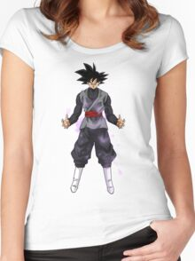 Goku Black Powering up Women's Fitted Scoop T-Shirt
