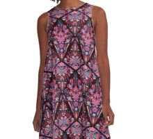 Bright colorful geometric floral pink tradition pattern A-Line Dress