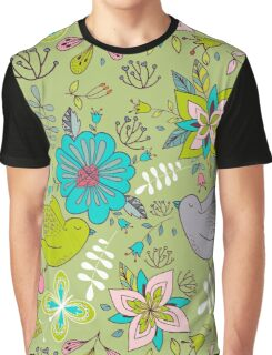 Sweet flowers and birds in flight, a cute line drawing pattern on a fun lime green background, classic statement fashion clothing, soft furnishings and home decor   Graphic T-Shirt