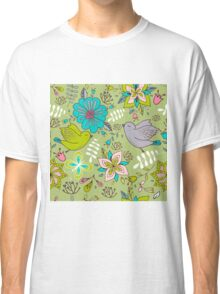 Sweet flowers and birds in flight, a cute line drawing pattern on a fun lime green background, classic statement fashion clothing, soft furnishings and home decor   Classic T-Shirt