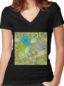 Flowers and birds in flight, a cute line drawing pattern on a fun lime green background, classic statement fashion clothing, soft furnishings and home decor   Women's Fitted V-Neck T-Shirt
