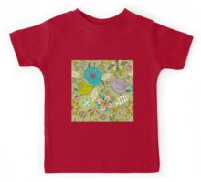 Sweet flowers and birds in flight, a cute line drawing pattern on a fun lime green background, classic statement fashion clothing, soft furnishings and home decor   Kids Tee