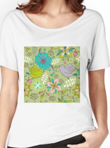 Sweet flowers and birds in flight, a cute line drawing pattern on a fun lime green background, classic statement fashion clothing, soft furnishings and home decor   Women's Relaxed Fit T-Shirt
