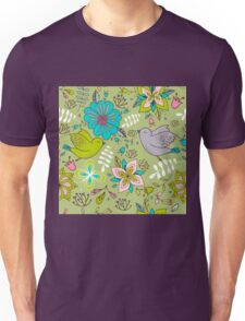 Sweet flowers and birds in flight, a cute line drawing pattern on a fun lime green background, classic statement fashion clothing, soft furnishings and home decor   Unisex T-Shirt