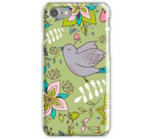 Sweet flowers and birds in flight, a cute line drawing pattern on a fun lime green background, classic statement fashion clothing, soft furnishings and home decor   iPhone Case/Skin