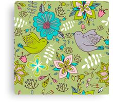 Sweet flowers and birds in flight, a cute line drawing pattern on a fun lime green background, classic statement fashion clothing, soft furnishings and home decor   Canvas Print