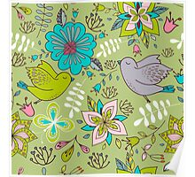Sweet flowers and birds in flight, a cute line drawing pattern on a fun lime green background, classic statement fashion clothing, soft furnishings and home decor   Poster