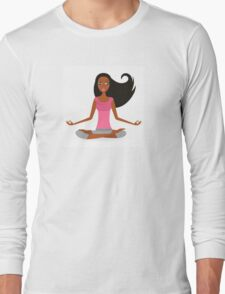 Cute afro woman practicing yoga exercise Long Sleeve T-Shirt