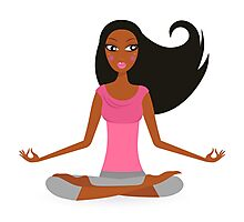 Cute afro woman practicing yoga exercise Photographic Print