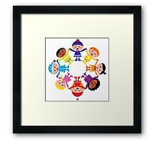 Colorful winter children in group. Vector illustration in retro style. Framed Print