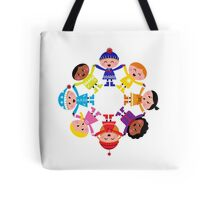 Colorful winter children in group. Vector illustration in retro style. Tote Bag