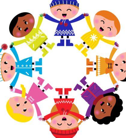 Colorful winter children in group. Vector illustration in retro style. Sticker