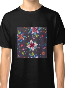 Fun colourful retro flower design in pink, lime green and turquoise, a pretty repeating design on a black background, classic statement fashion clothing, soft furnishings and home decor  Classic T-Shirt
