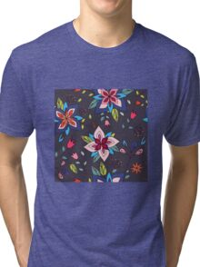 Fun colourful retro flower design in pink, lime green and turquoise, a pretty repeating design on a black background, classic statement fashion clothing, soft furnishings and home decor  Tri-blend T-Shirt