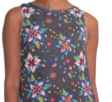 Fun colourful retro flower design in pink, lime green and turquoise, a pretty repeating design on a black background, classic statement fashion clothing, soft furnishings and home decor  Contrast Tank