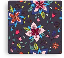 Fun colourful retro flower design in pink, lime green and turquoise, a pretty repeating design on a black background, classic statement fashion clothing, soft furnishings and home decor  Canvas Print