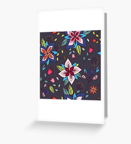 Fun colourful retro flower design in pink, lime green and turquoise, a pretty repeating design on a black background, classic statement fashion clothing, soft furnishings and home decor  Greeting Card