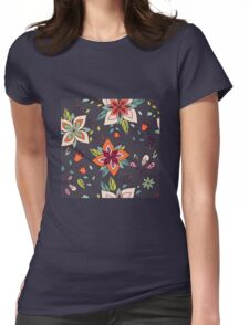 Retro 60's flower design in green and orange, a pretty repeating floral design on a black background, classic statement fashion clothing, soft furnishings and home decor  Womens Fitted T-Shirt