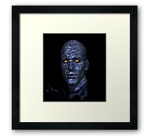 Scary, Blue Man, Yellow Eyes Framed Print